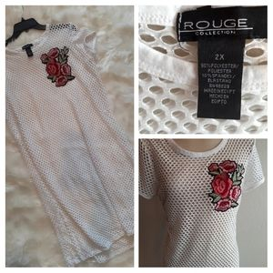 ROGUE NET DRESS WITH FLOWER EMBROIDERY DETAIL D723